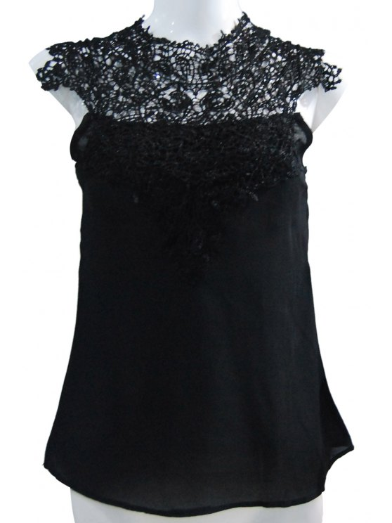 best Stand-Up Collar Lace Splicing Backless Tank Top - BLACK M