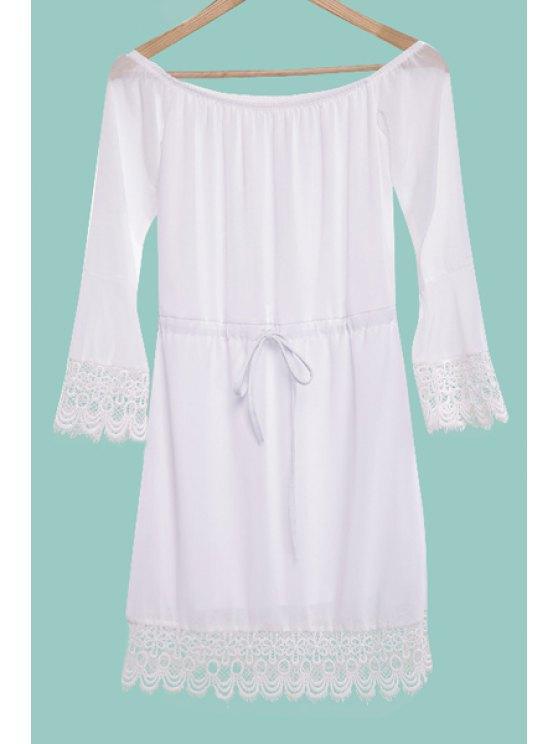 women White Off The Shoulder Chiffon Dress - WHITE S