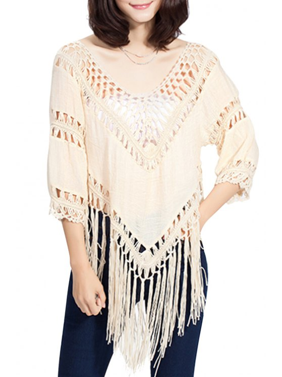 chic Crochet Spliced Plunging Neck Blouse - BEIGE ONE SIZE(FIT SIZE XS TO M)
