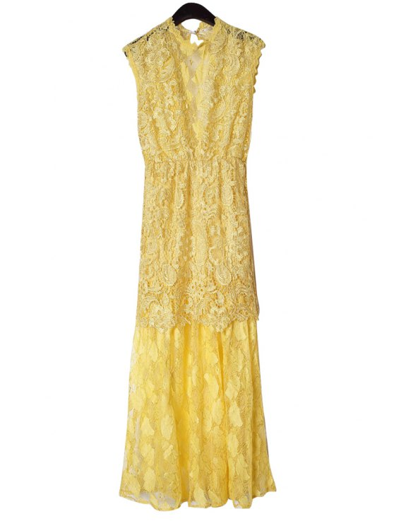 best Lace Yellow Backless Maxi Dress - YELLOW S