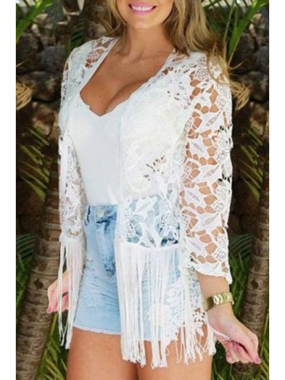 outfit Floral Pattern Openwork Lace Long Sleeve Blouse - WHITE S