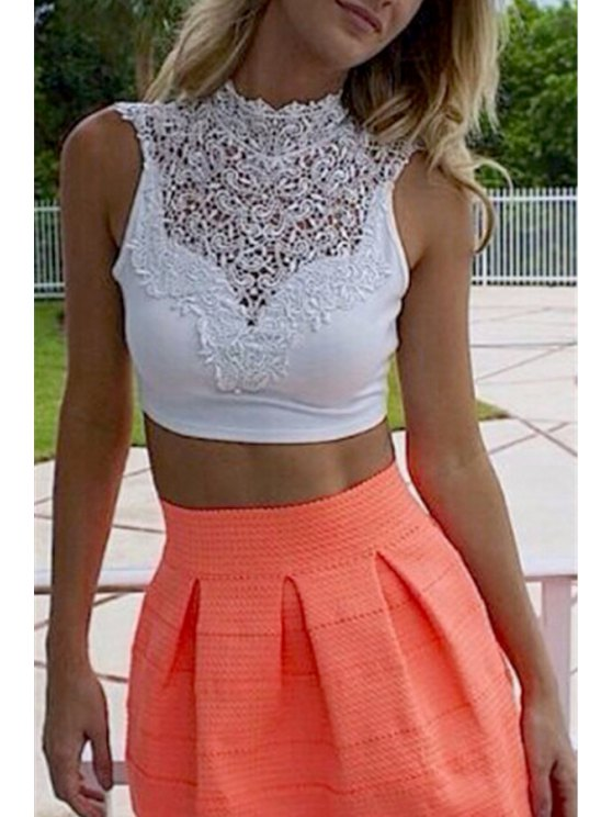 hot Lace Spliced Stand Neck Crop Top - WHITE L