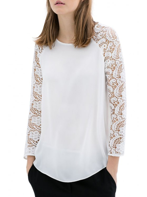 unique Openwork Floral Lace Splicing Long Sleeve T-Shirt - WHITE S