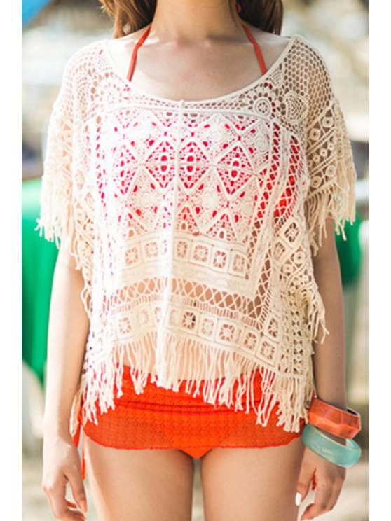 sale Crochet Hollow Half Sleeve Cover Up - OFF-WHITE ONE SIZE(FIT SIZE XS TO M)
