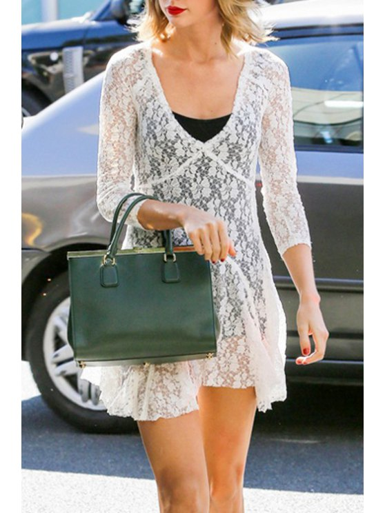 best See-Through 3/4 Sleeve Lace Dress - WHITE S