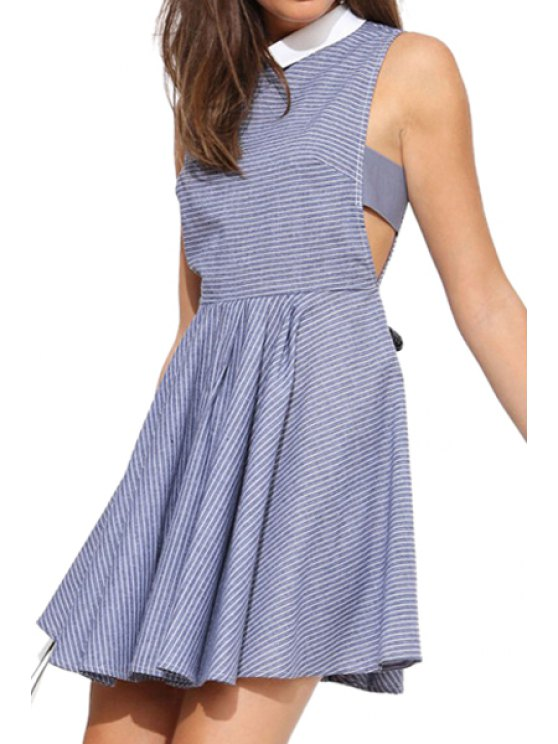 ladies Stripe Turn-Down Collar Sleeveless Dress - STRIPE S