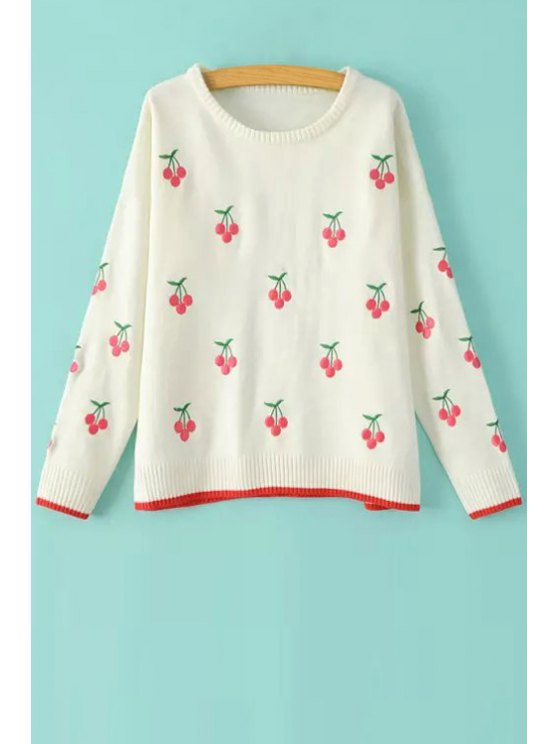 womens Cherry Embroidery Long Sleeve Sweater - WHITE ONE SIZE(FIT SIZE XS TO M)