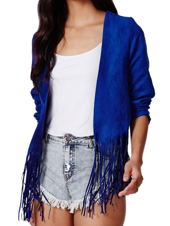 new Solid Color Long Sleeve Tassels Coat - BLUE S