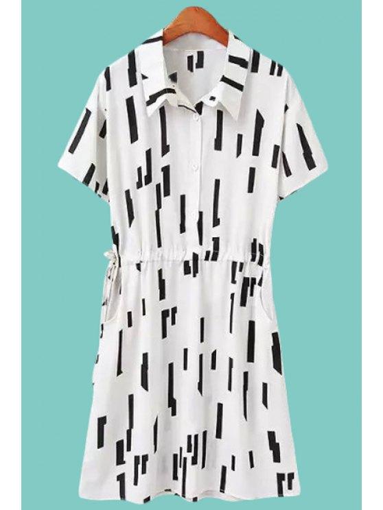 women Turn-Down Collar Geometric Print Tie-Up Dress - WHITE M