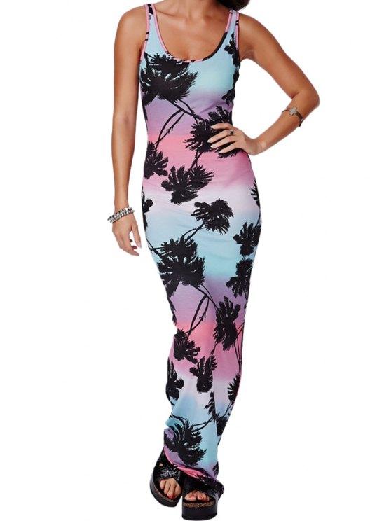 online Coconut Palm Print Sleeveless Maxi Dress - COLORMIX L