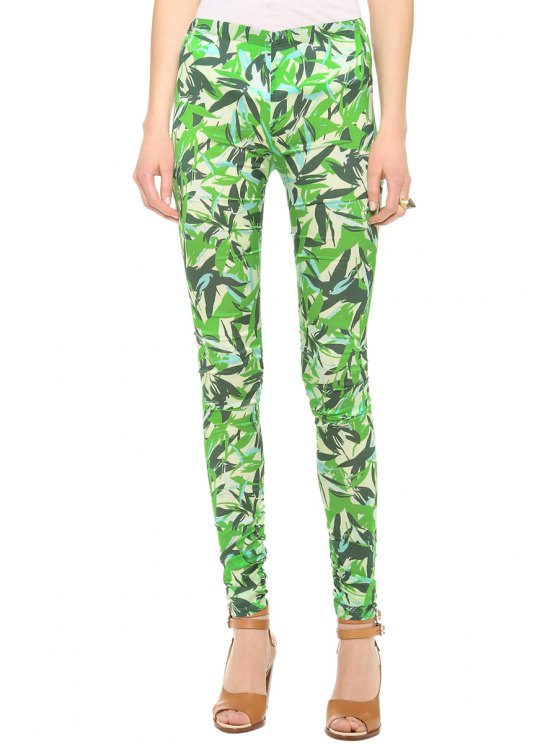 outfits Green Leaf Print Skinny Leggings - GREEN M