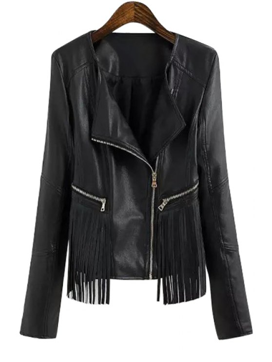 ladies Turn-Down Collar PU Leather Fringe Splicing Jacket - BLACK S