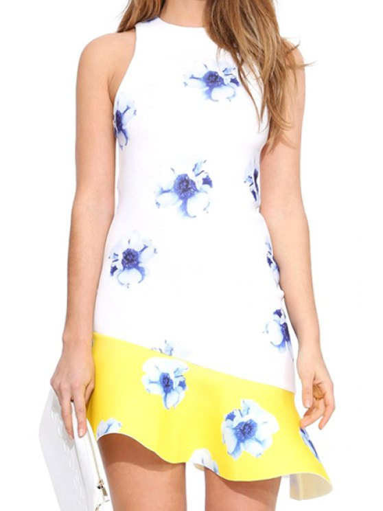 women's Floral Flouncing Spliced Sleeveless Dress - WHITE S