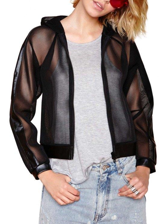 fashion PU Leather Mesh Spliced Hooded Jacket - BLACK S