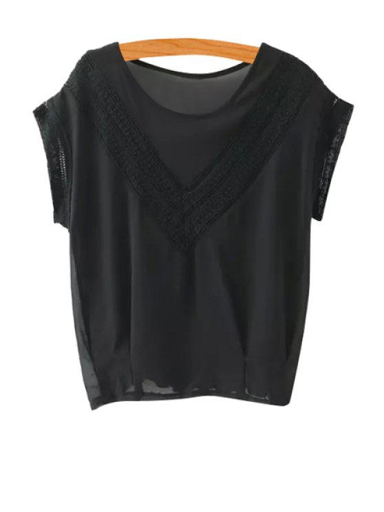 lady Lace Splicing Short Sleeve Solid Color T-Shirt - BLACK S