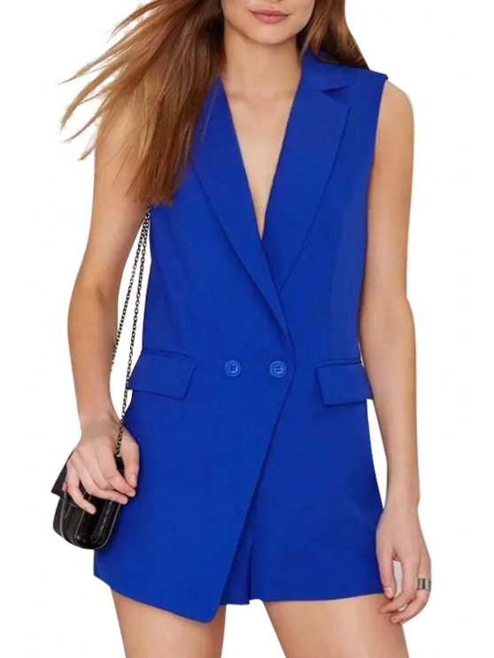 fancy Lapel Solid Color Pocket Sleeveless Romper - BLUE S