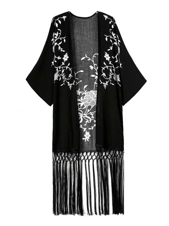 latest White Floral Print Tassel Splicing Kimono - BLACK S