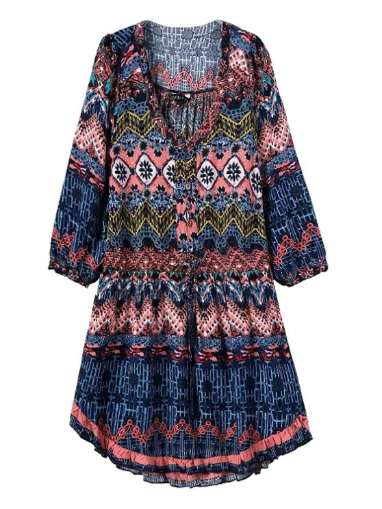 hot Argyle Color Block Printed 3/4 Sleeve Dress - COLORMIX S