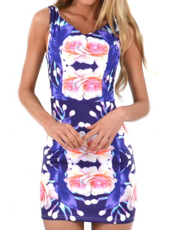 womens V-Neck Floral Print Sleeveless Dress - COLORMIX S