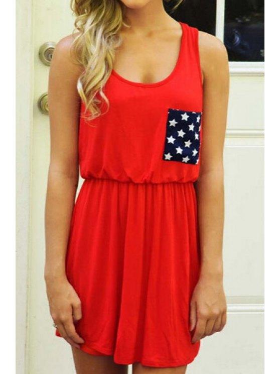 womens Star Print Spliced Red Sundress - RED S