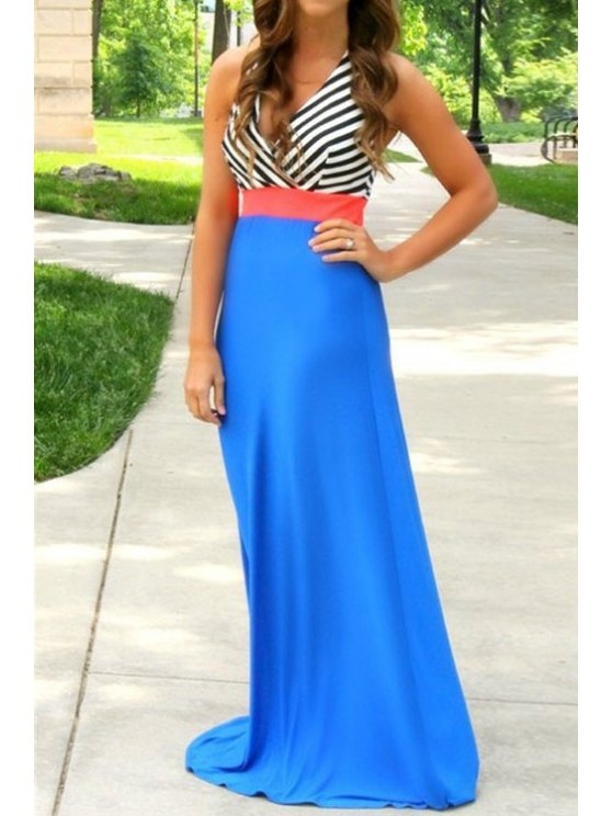 outfit Stripes Spliced Halter Maxi Dress - BLUE S