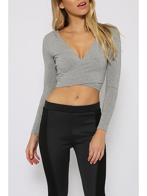 womens Gray Long Sleeve Self-Tie Crop Top - GRAY S