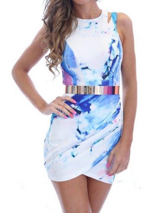 affordable Back Zipper Printed Sleeveless Dress - WHITE S