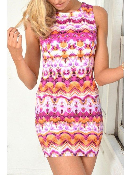 women Printed Back Zipper Sleeveless Dress - PINK S