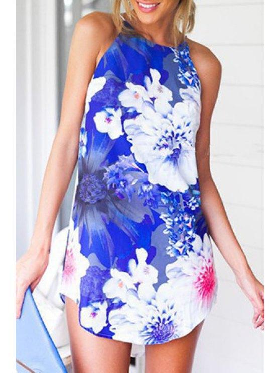 women's Spaghetti Strap Floral Print Irregular Hem Dress - BLUE AND WHITE S