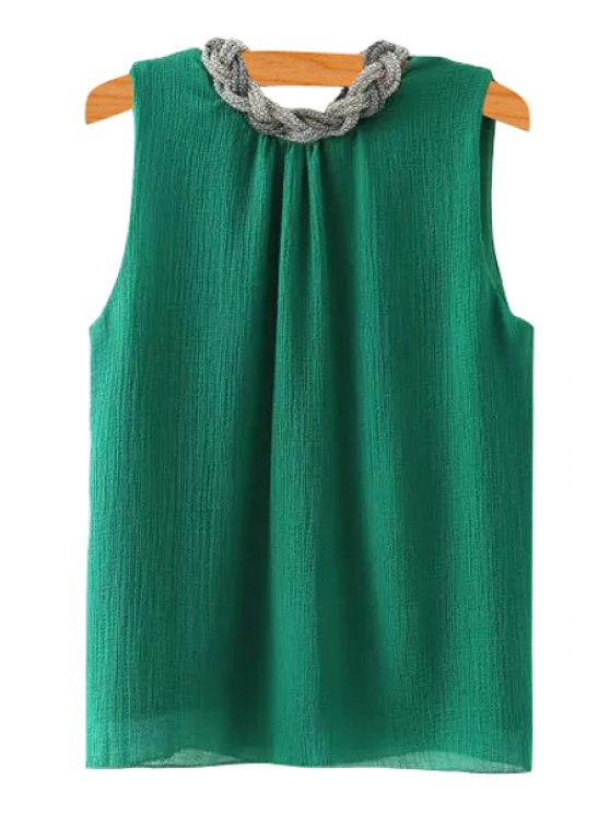 fashion Braid Splicing Sleeveless Tank Top - GREEN S
