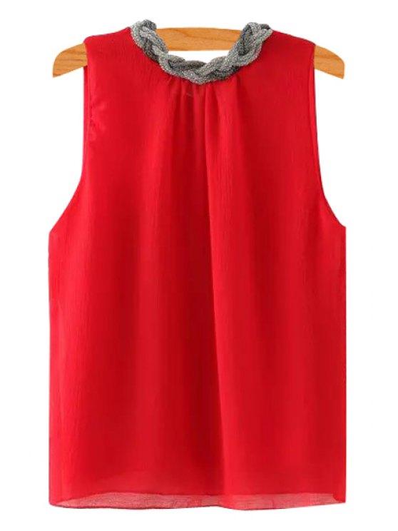ladies Braid Splicing Sleeveless Tank Top - RED S