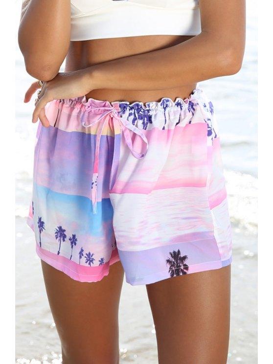 new Coconut Tree Print Elastic Waist Shorts - COLORMIX M