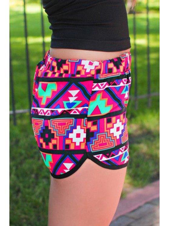 ladies Geometric Print Elastic Waist Shorts - COLORMIX S