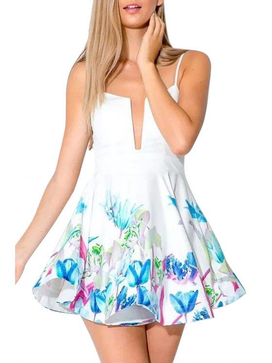 lady Spaghetti Strap Blue Floral Print  Sleeveless Dress - WHITE S
