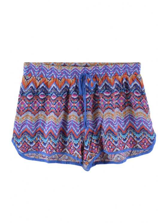 women Zig Zag Print Tie-Up Shorts - RED S