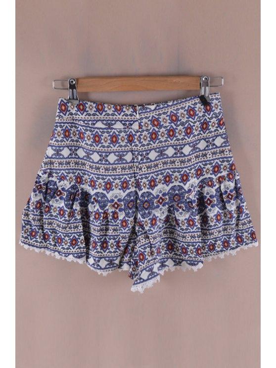 fashion Argyle Print Lace Splicing Shorts - COLORMIX S