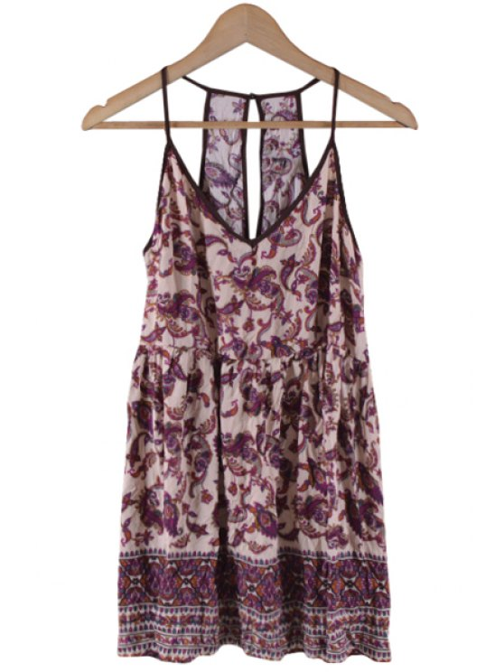 best Spaghetti Strap Paisley Print Backless Sleeveless Dress - COLORMIX S