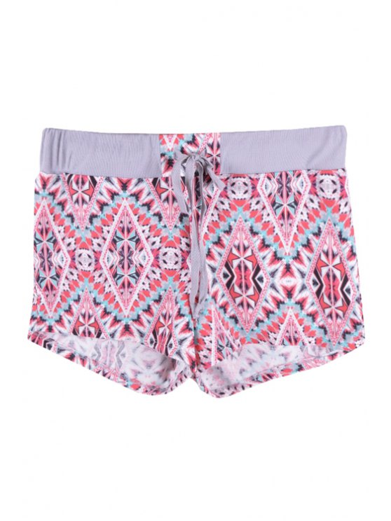 hot Elastic Waist Argyle Print Shorts - GRAY S