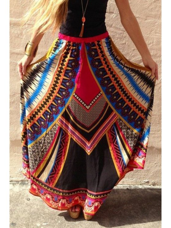 sale Color Block Abstract Print Long Skirt - COLORMIX S