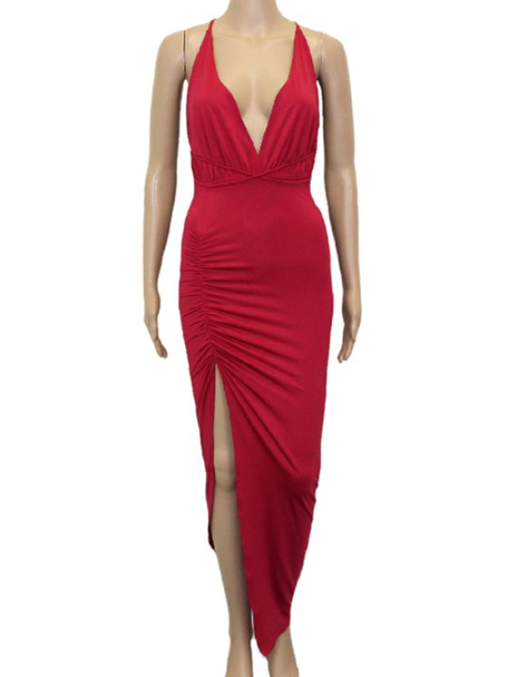 outfit Plunging Neck Backless Ruffle High Slit Dress - RED M