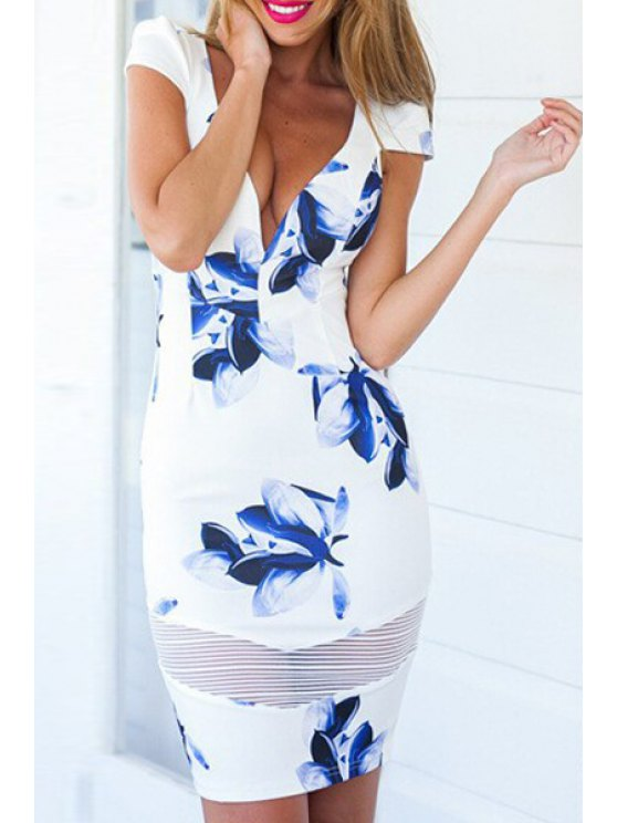 affordable Plunging Neck Floral Print Spliced Bodycon Dress - BLUE AND WHITE XL