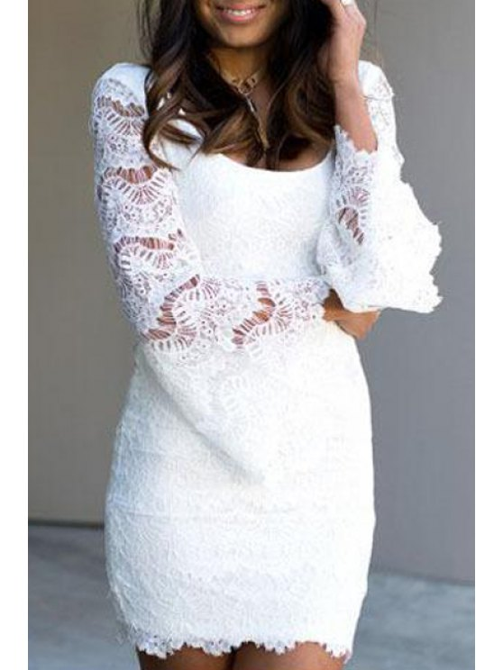 lady Scoop Neck Solid Color Backless Lace Dress - WHITE M