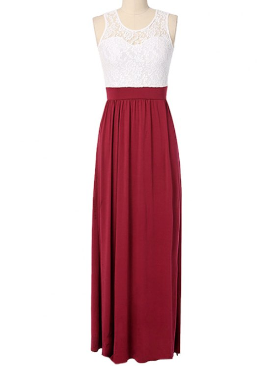 new Lace Spliced Hit Color High Slit Maxi Dress - RED S