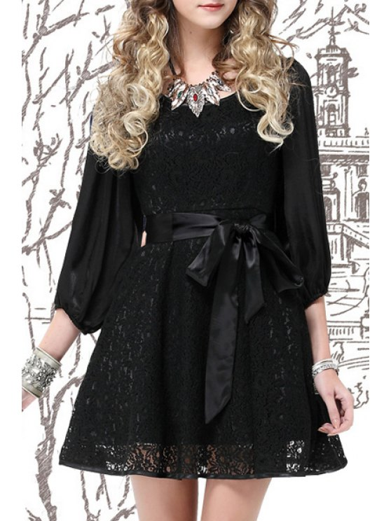 latest Lace Spliced 3/4 Sleeves A Line Dress - BLACK S