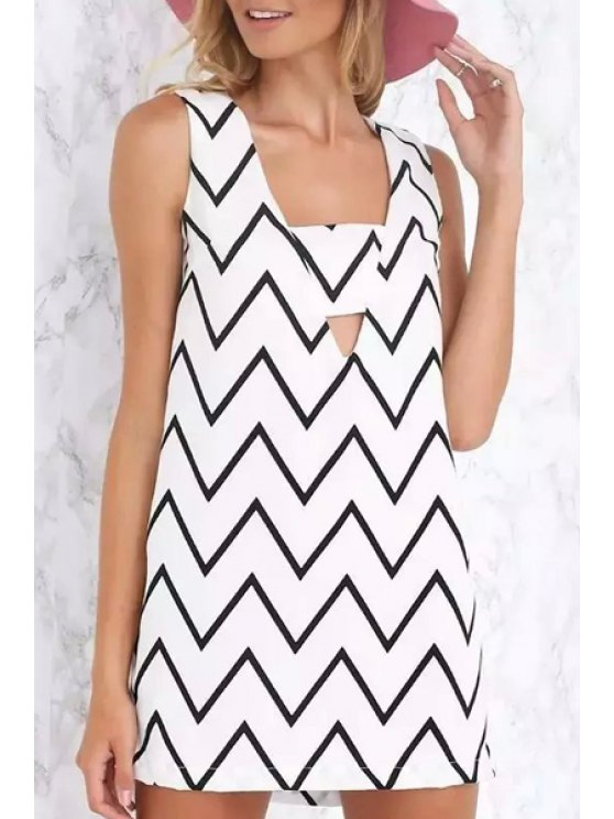 new Square Collar Zig Zag Hollow Out Sleeveless Dress - WHITE S