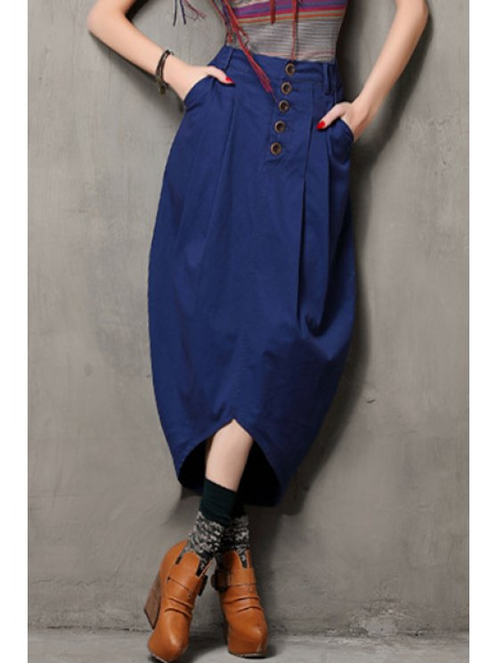 womens Solid Color Single-Breasted Bud Skirt - SAPPHIRE BLUE S