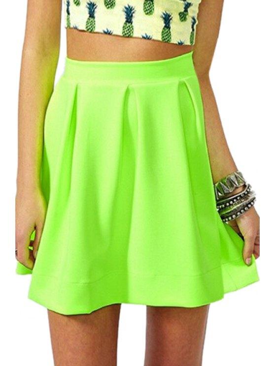 shops Zipper-Fly Ruffled A-Line Fluorescent Green Skirt - NEON GREEN S