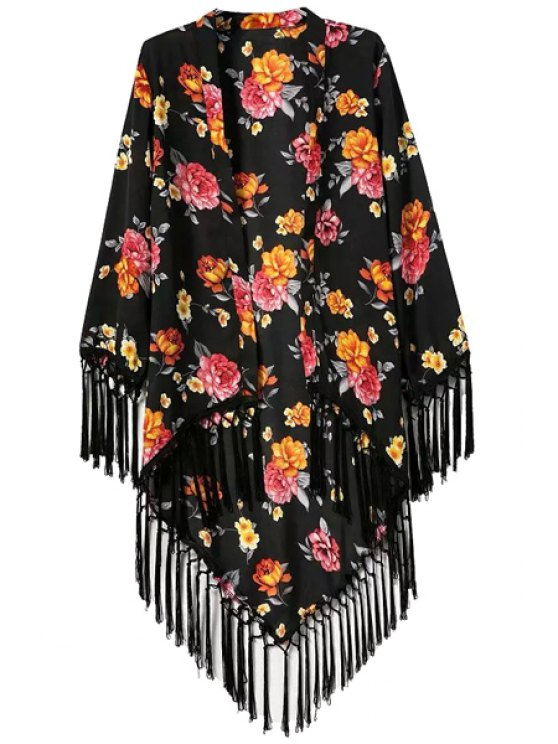 chic Floral Print Asymmetrical Tassel Splicing Long Sleeve Kimono - BLACK S