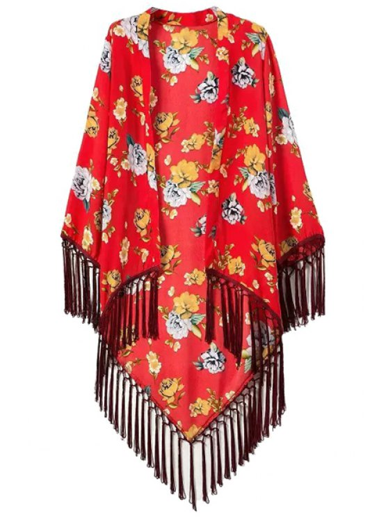 sale Asymmetrical Floral Print Tassel Splicing Long Sleeve Kimono - RED S
