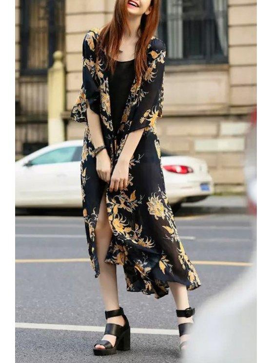 fancy Floral Print Tie-Up Half Sleeve Kimono Dress - BLACK S
